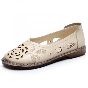 Women Floral Hollow Comfy Non Slip Casual Slip On Loafers